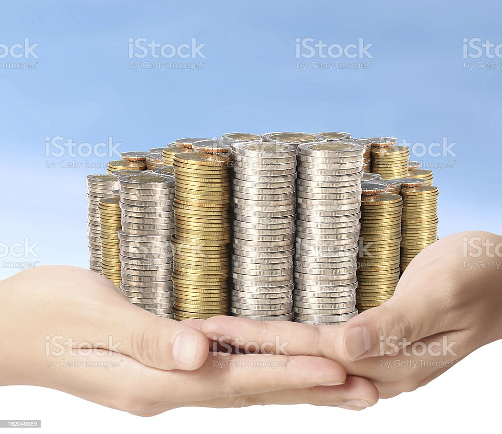 coin to money in hand royalty-free stock photo