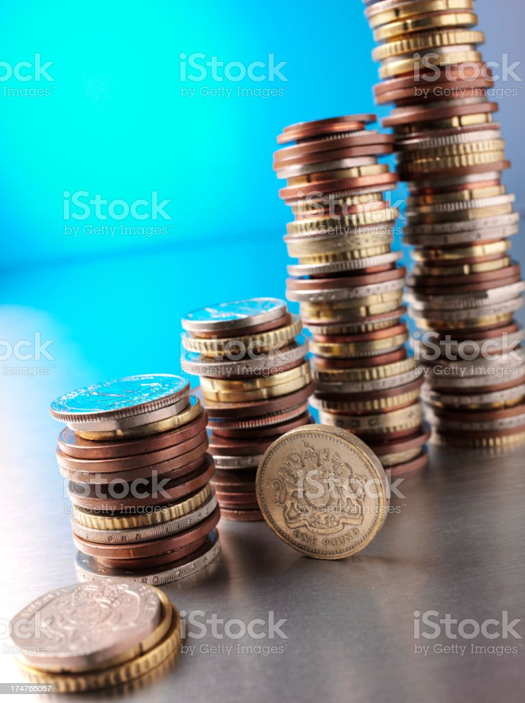 Coin Towers and the British Pound royalty-free stock photo