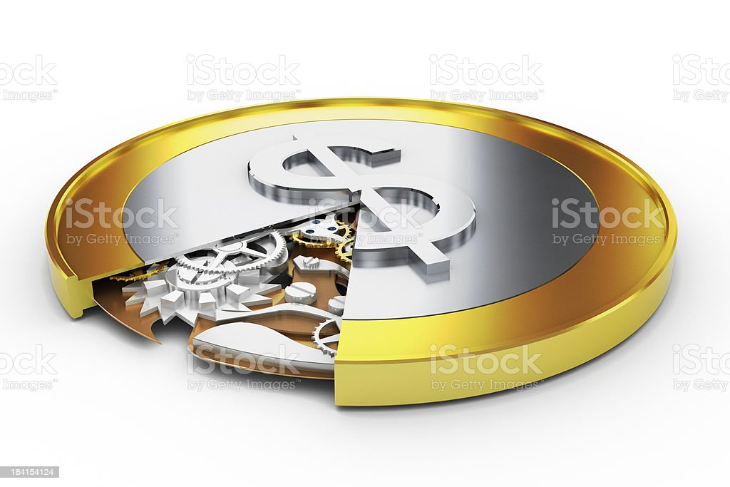Coin with Mechanism Inside royalty-free stock photo