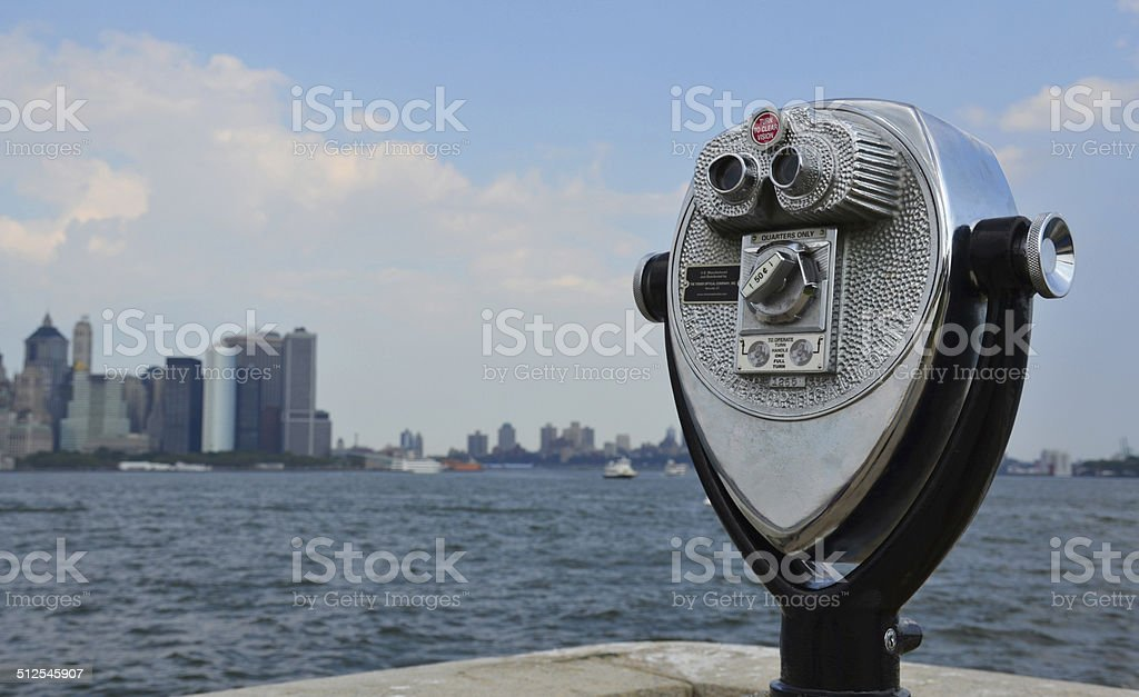 Coin-operated binocular viewer stock photo