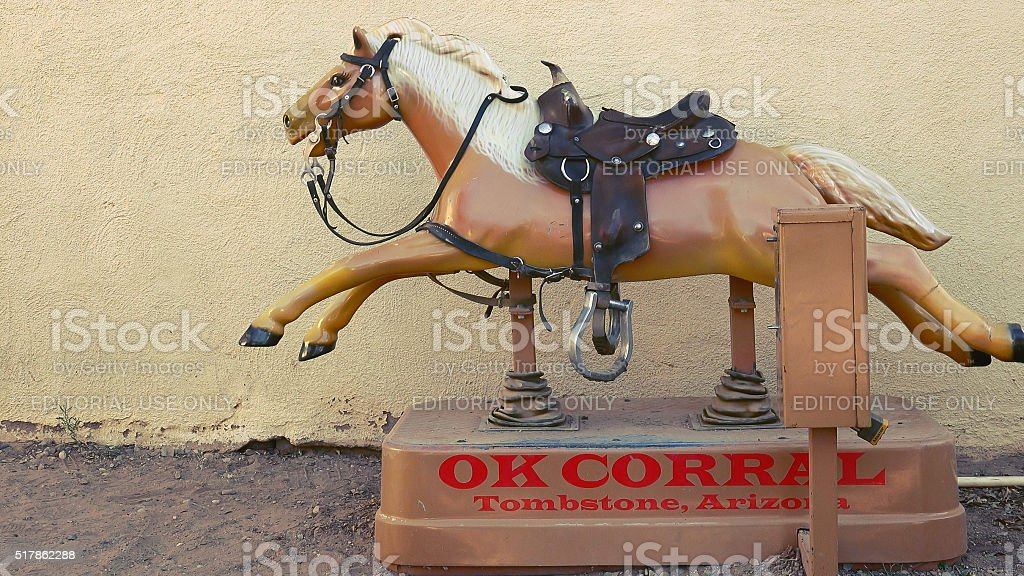 Coin-operated Horse Ride at the OK Corral in Tombstone, Arizona stock photo