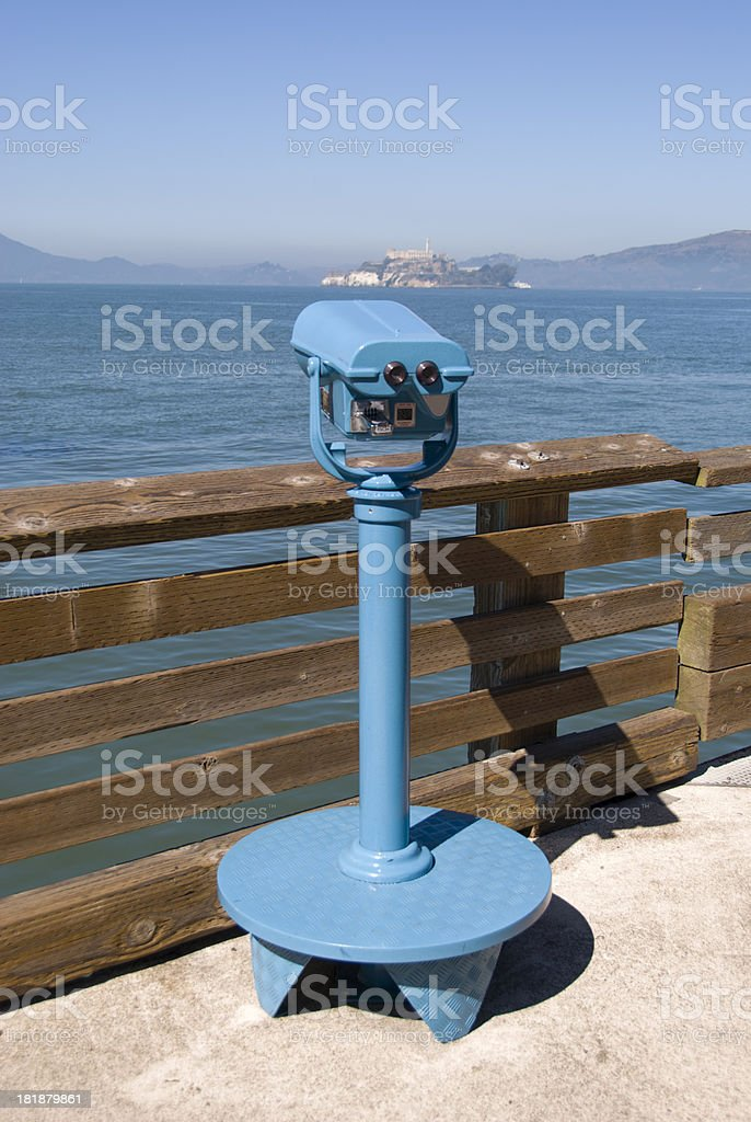 Coin-operated monocular pointed at Alcatraz royalty-free stock photo