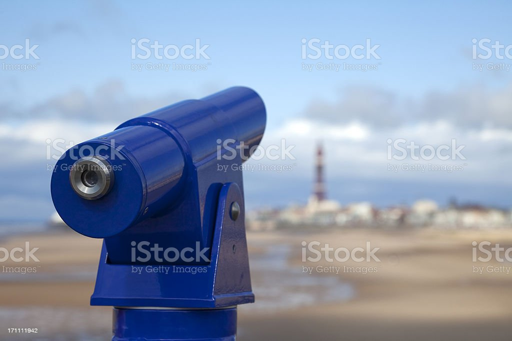 Coin-operated telescope at seaside stock photo