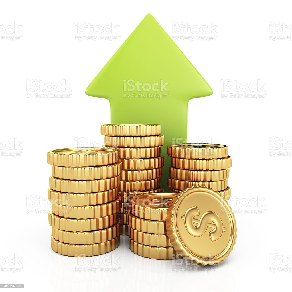 Coins and arrow royalty-free stock photo