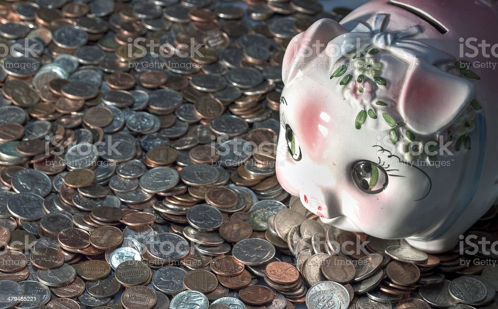 Coins and bank stock photo