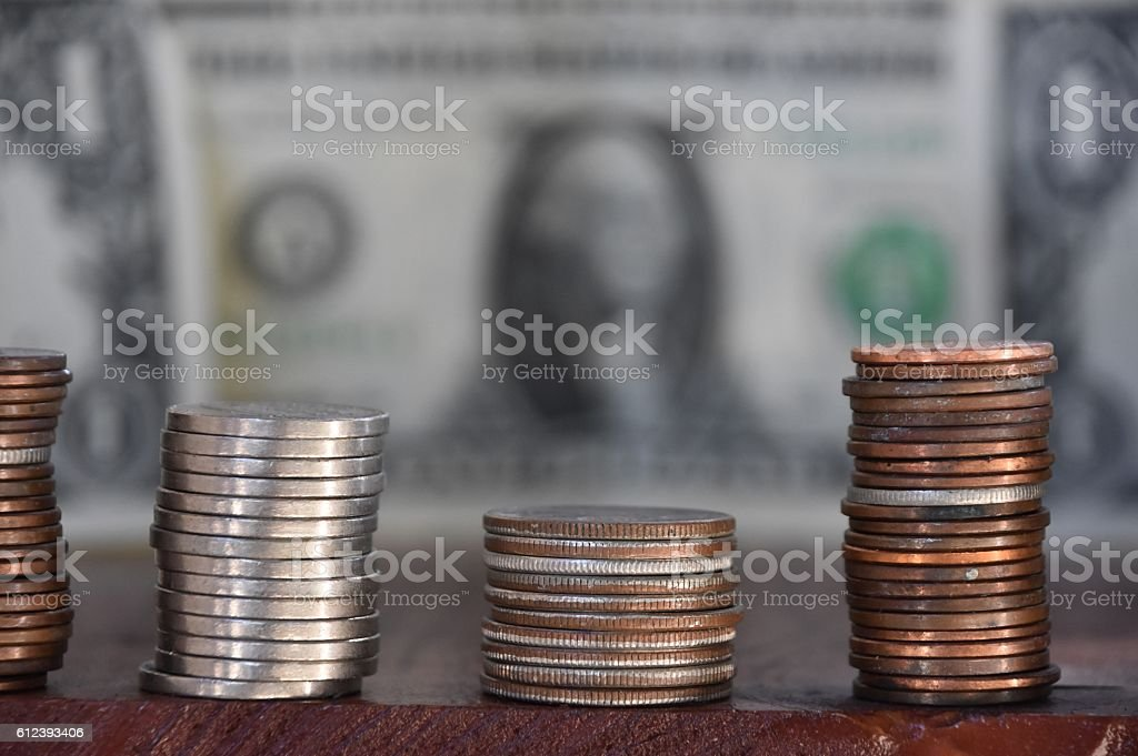 coins and banknotes Background stock photo