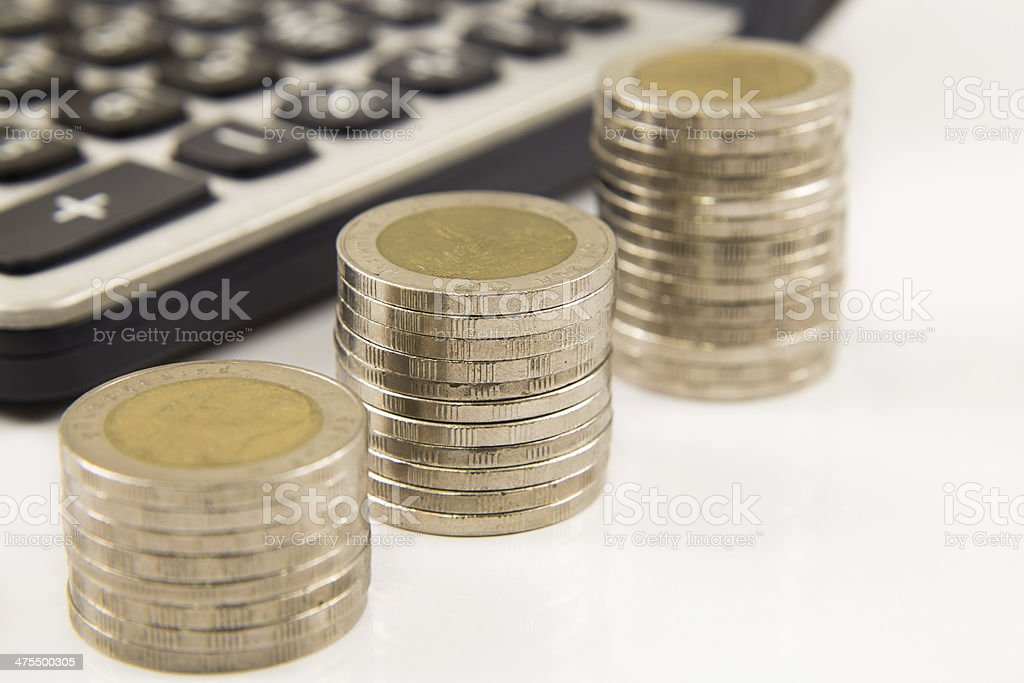 Coins and calculator stock photo