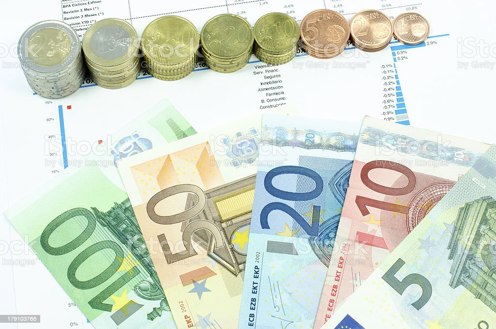 Coins and euro banknotes composition royalty-free stock photo