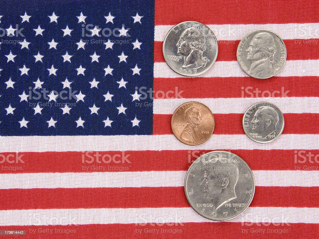 US Coins and Flag stock photo