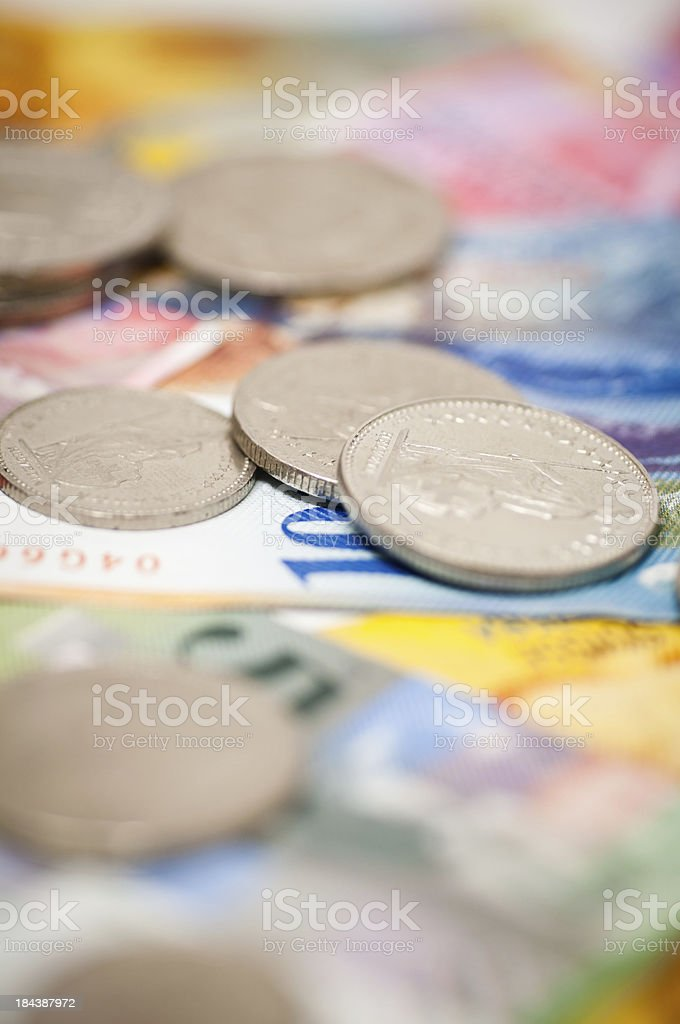 coins and notes of switzerland stock photo