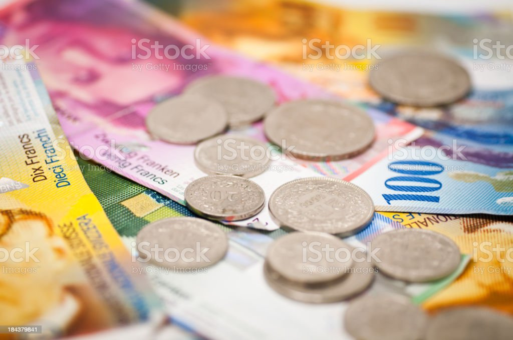 coins and notes stock photo