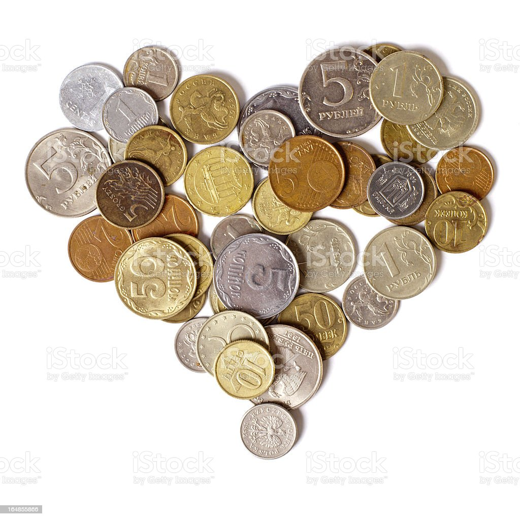 Coins are in the shape of a heart royalty-free stock photo