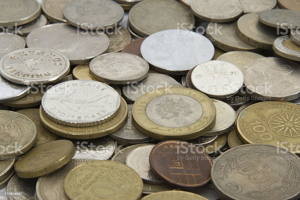 Coins Around The World royalty-free stock photo