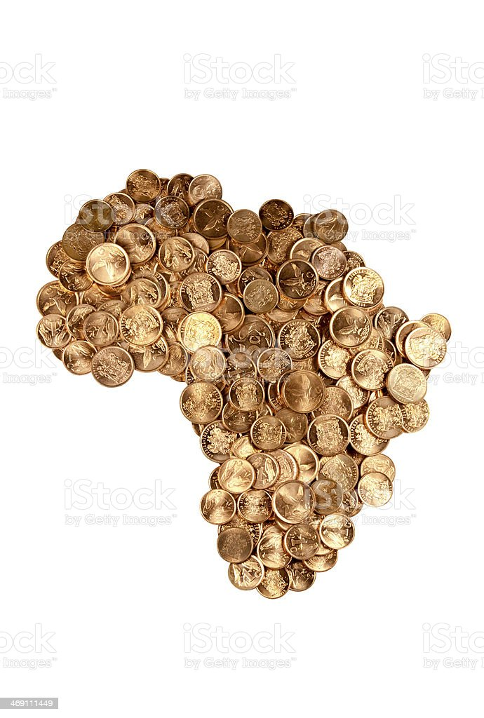 Coins Arrangement in The Shape Of Africa stock photo