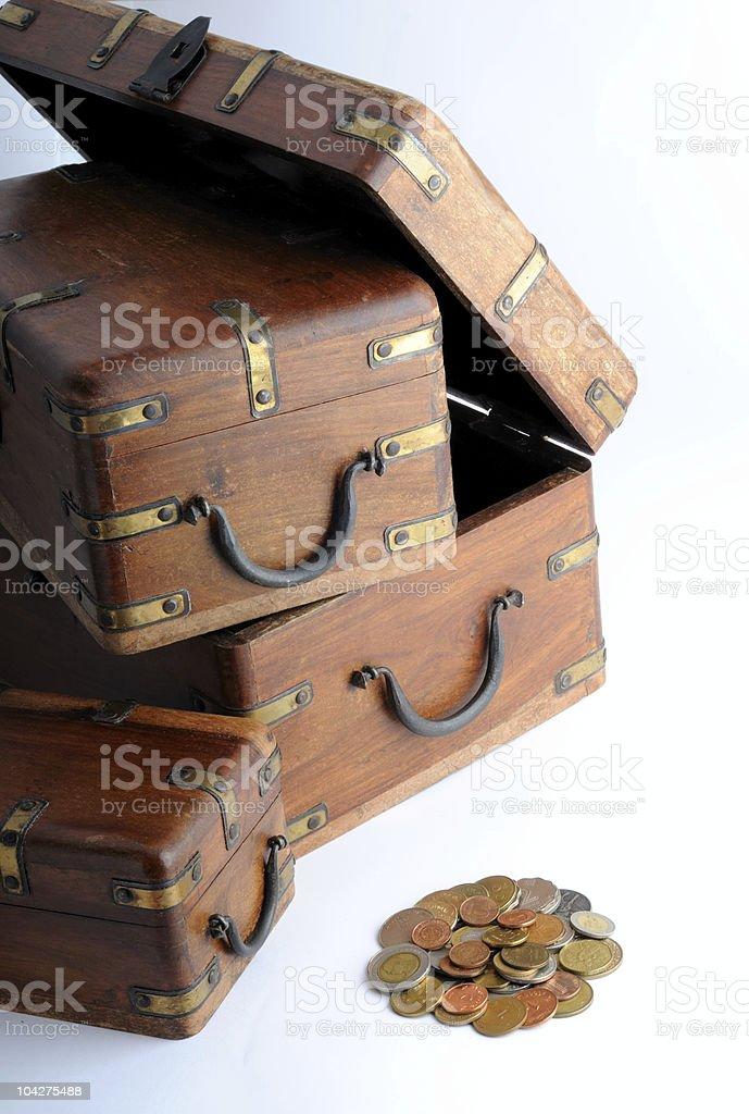 coins boxes stock photo