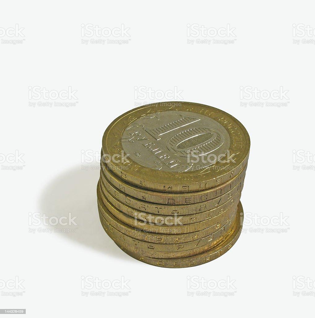 Coins built column - 2 stock photo