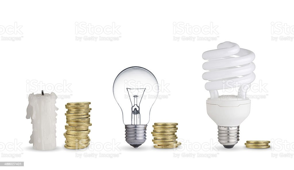 Coins, candle and light bulbs stock photo