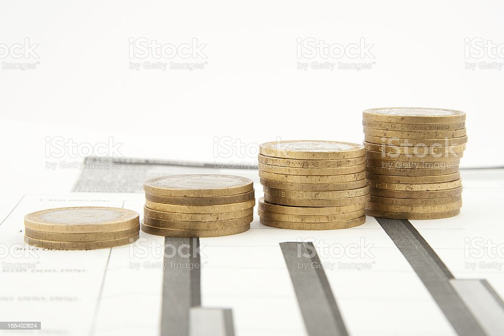 Coins chart stock photo