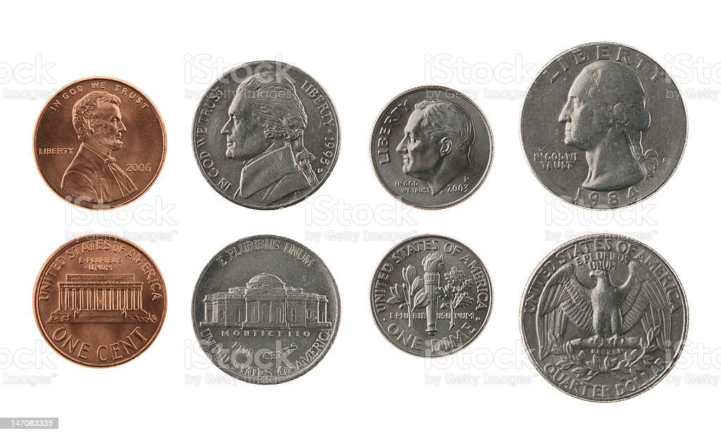 US Coins Collection Isolated on White royalty-free stock photo