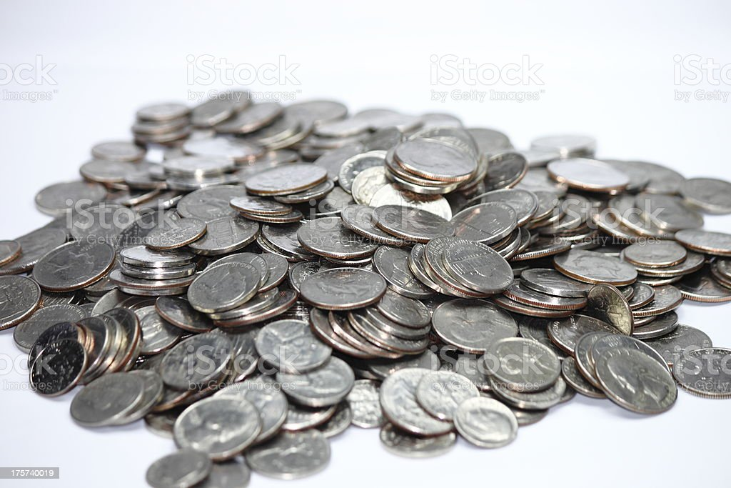 US Coins Currency Silver Coins stock photo