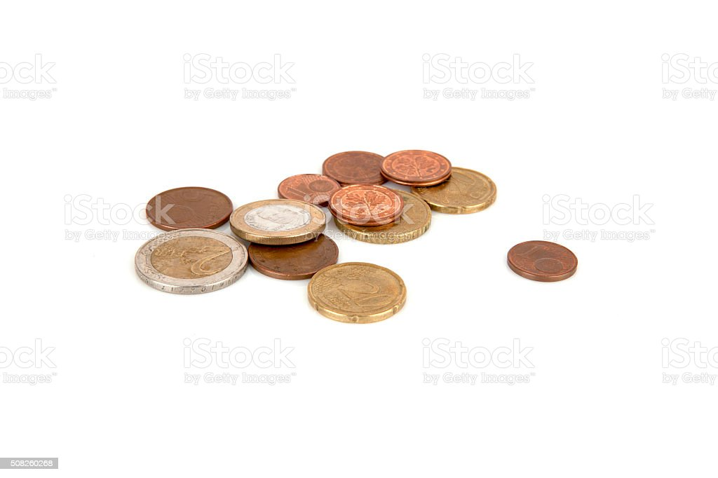 Coins euro isolated on the white background stock photo