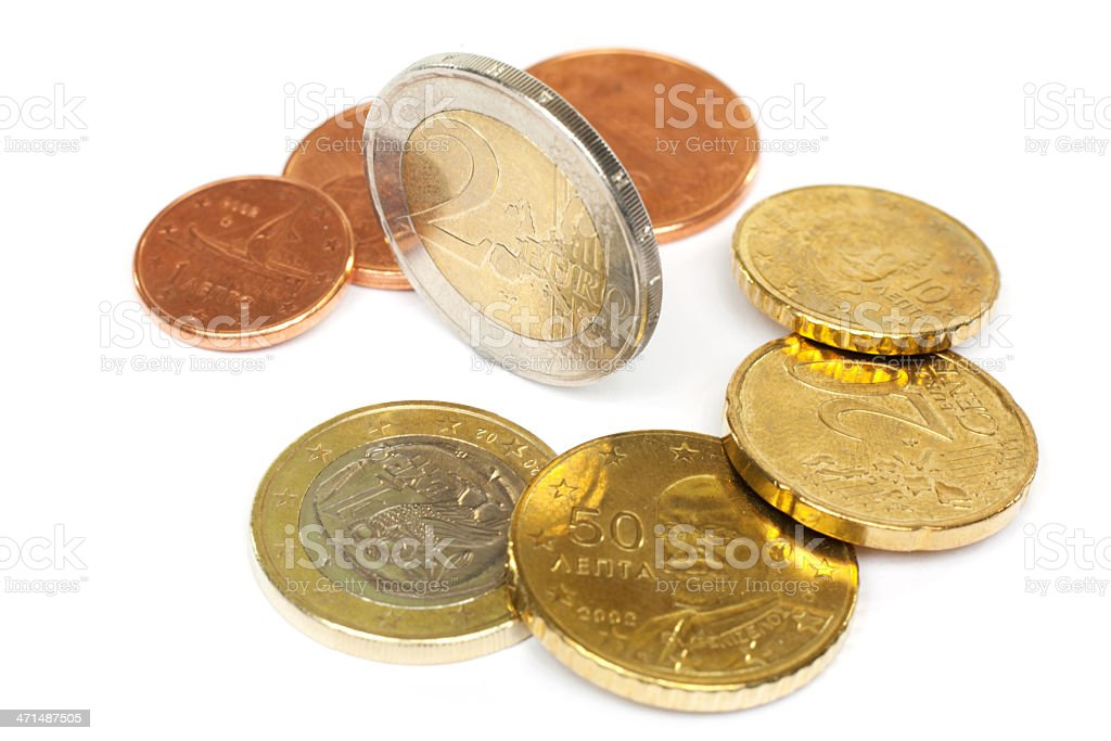 Coins european currency stock photo