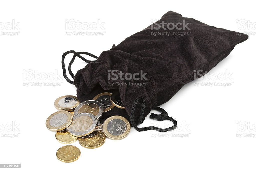 coins falling out of sack isolated stock photo