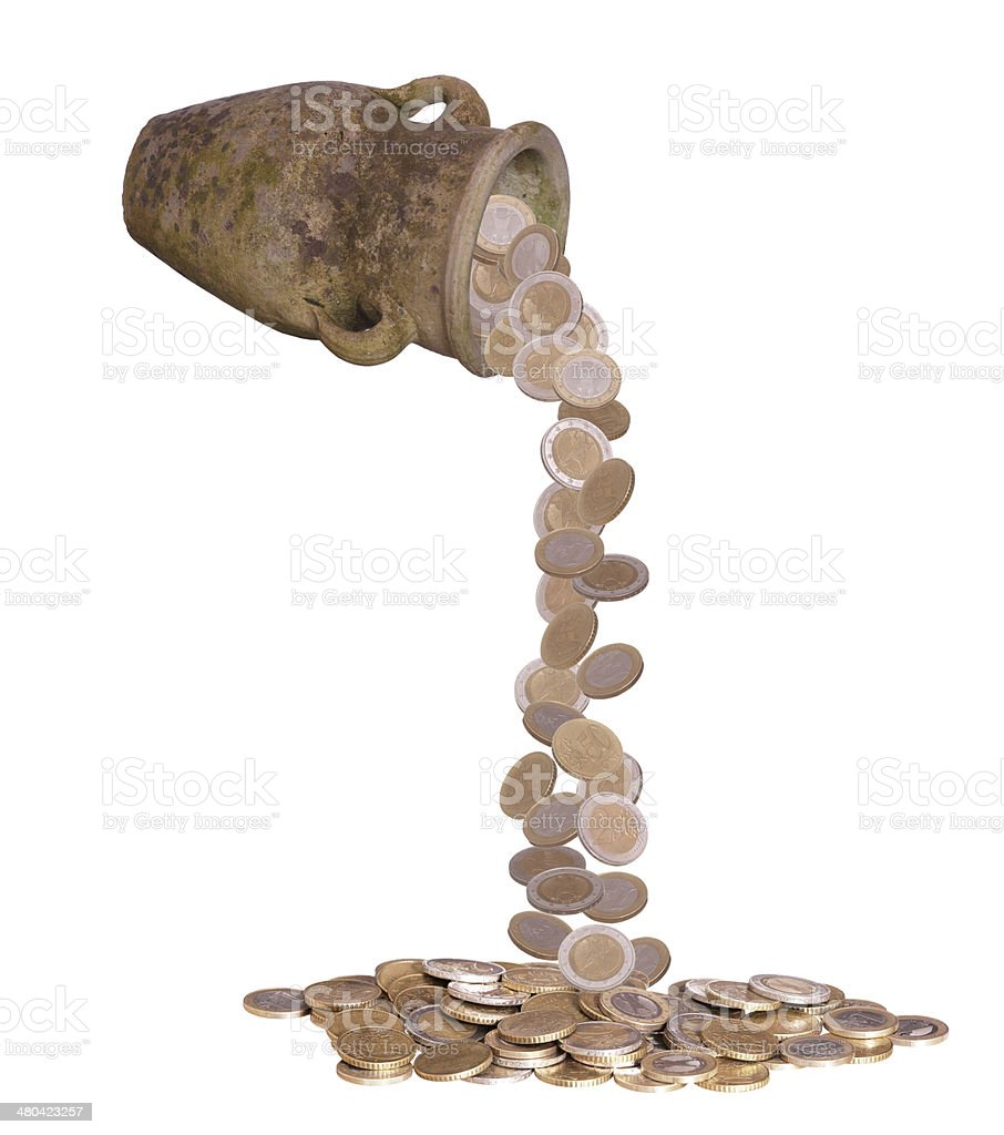 coins falling out of vase stock photo