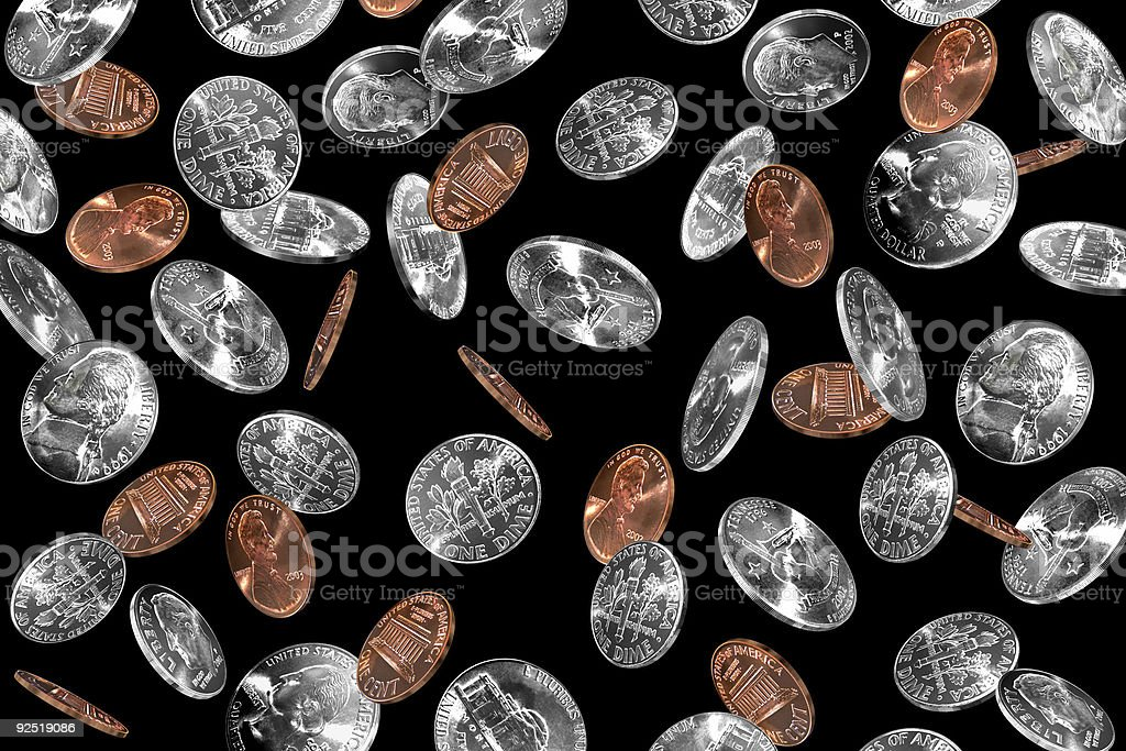 Coins Falling royalty-free stock photo