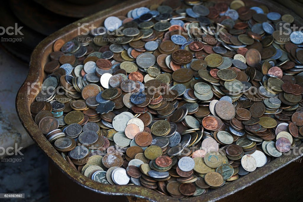 Coins From All Over The World stock photo