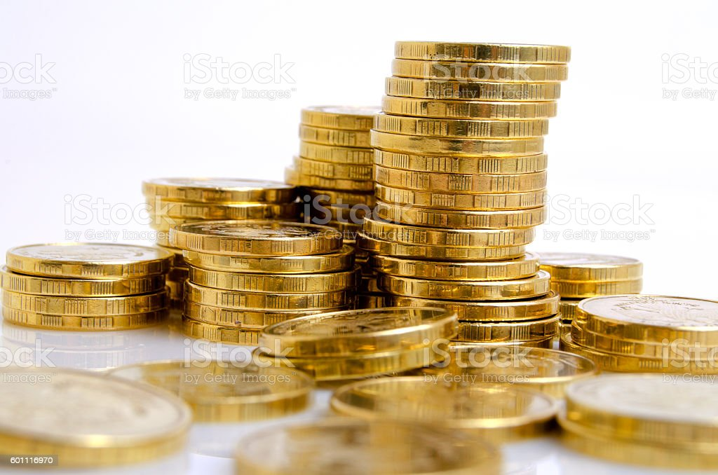 Coins from yellow metal. stock photo