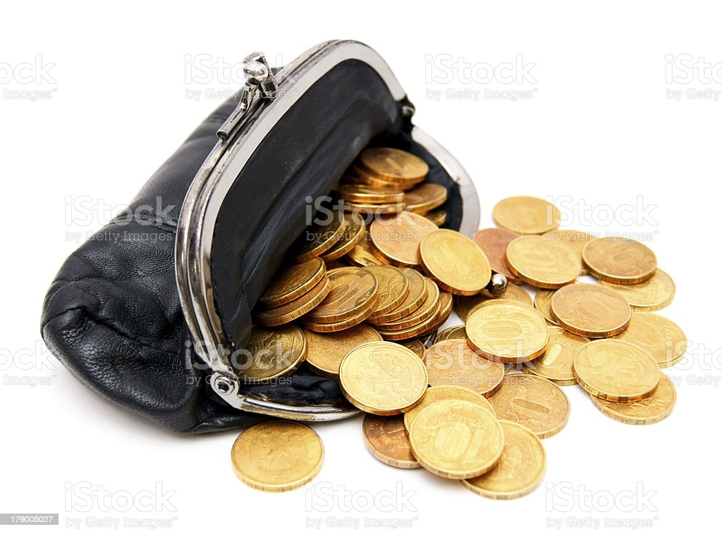 Coins in a purse royalty-free stock photo