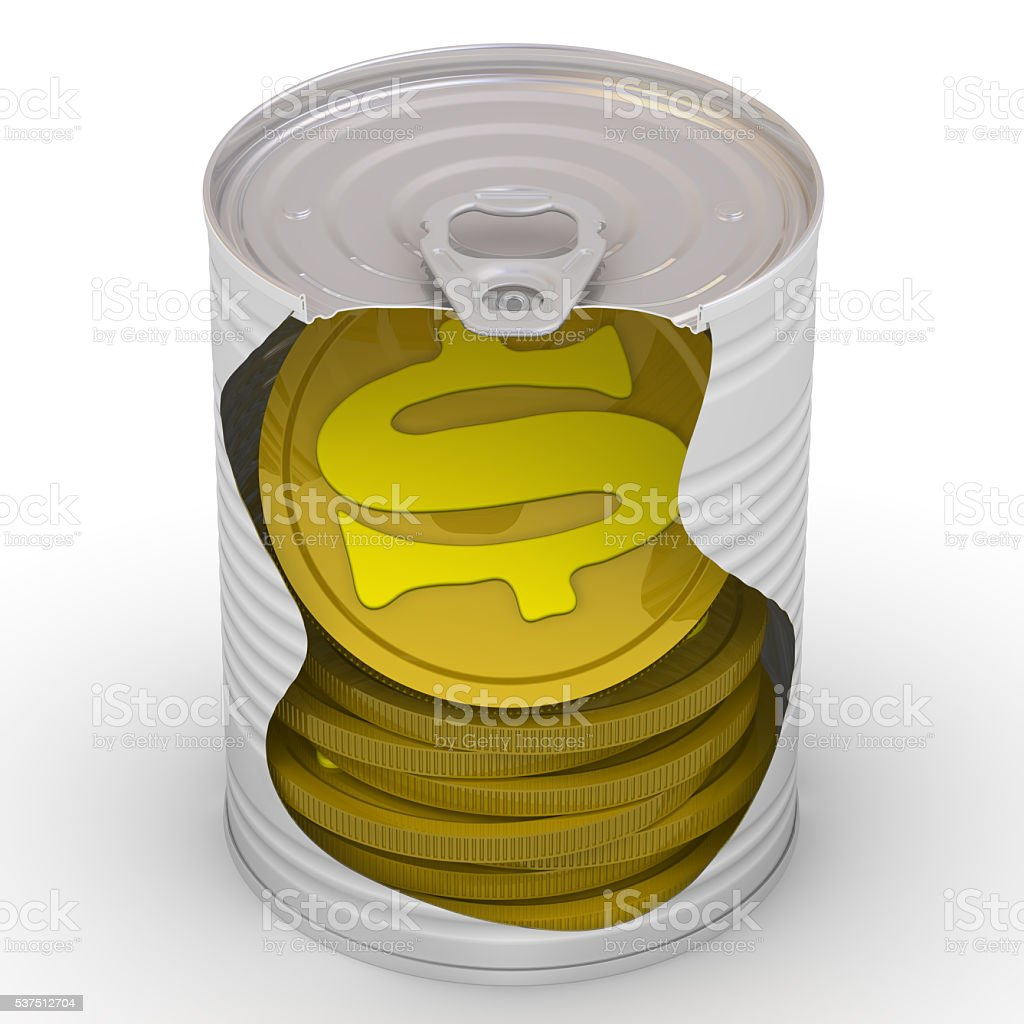 Coins in a tin stock photo
