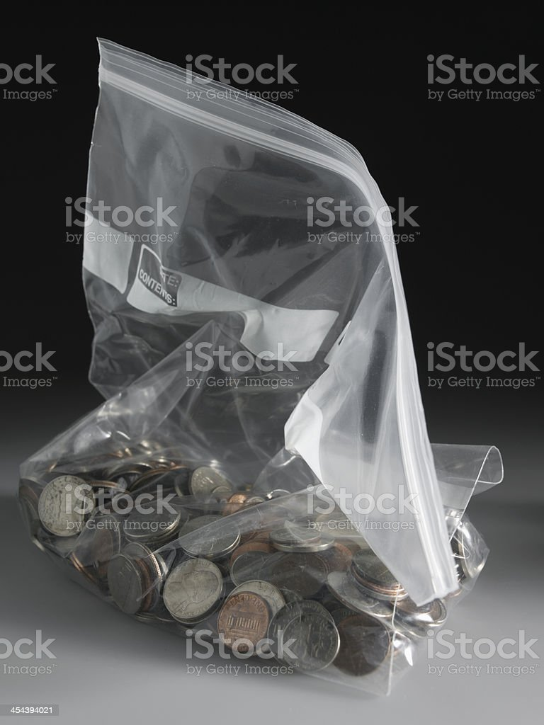 US Coins in Bag stock photo