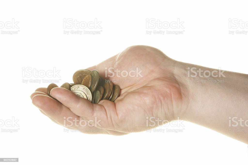 Coins in hand royalty-free stock photo