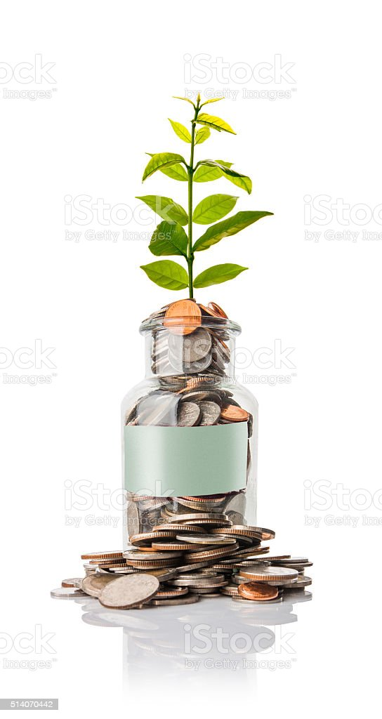coins in jar with  empty space for text stock photo