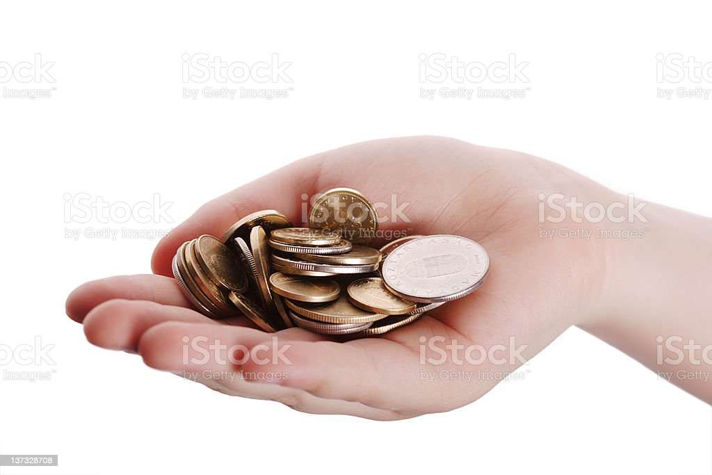 Coins in palm stock photo