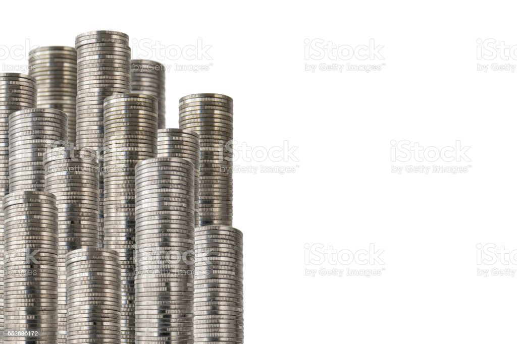 coins in rows side decoration stock photo