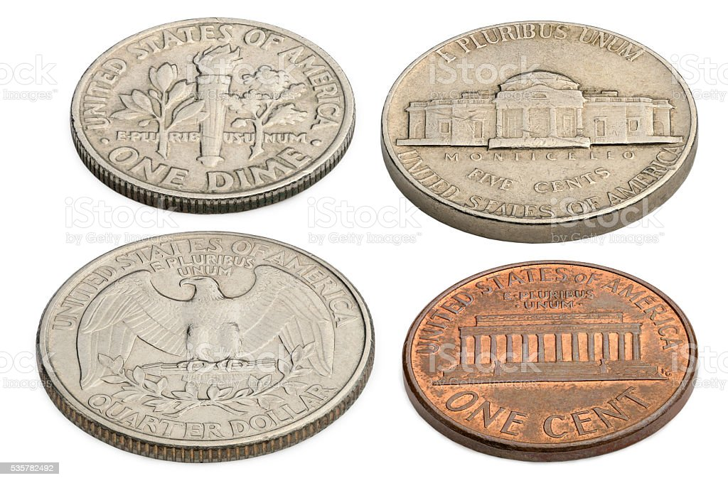 US coins isolated on a white background. stock photo