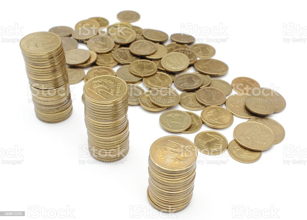 Coins isolated on white background royalty-free stock photo