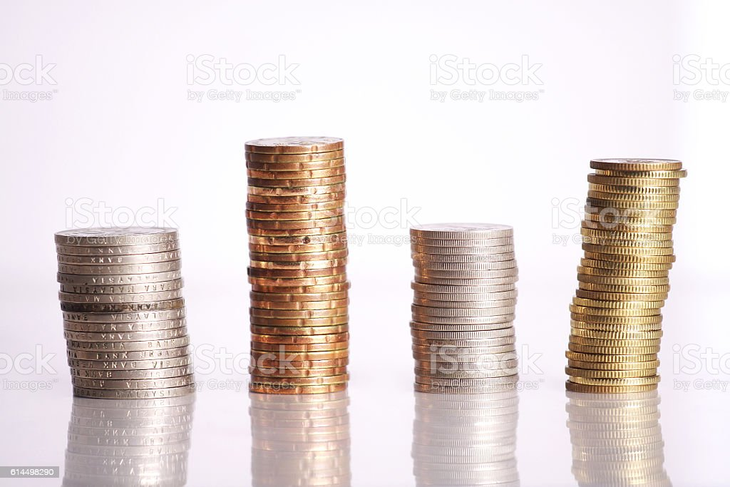Coins isolated on white background stock photo