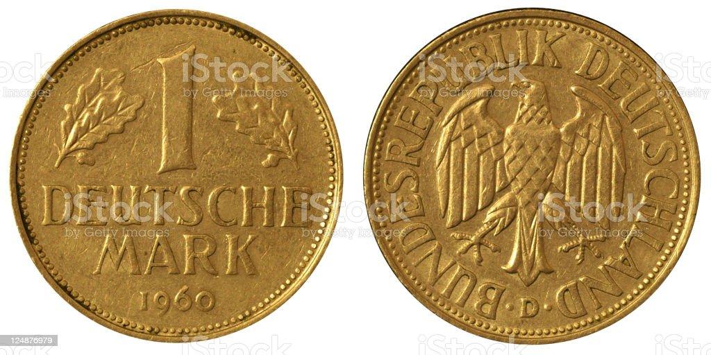 Coins Macro - 1 German Mark royalty-free stock photo