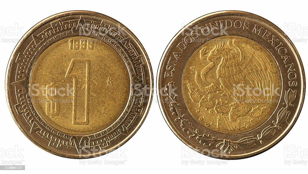 Coins Macro - 1 Mexican Peso stock photo