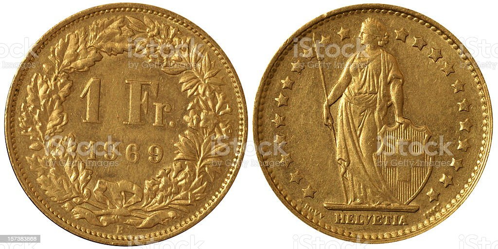 Coins Macro - 1 Swiss Franc royalty-free stock photo