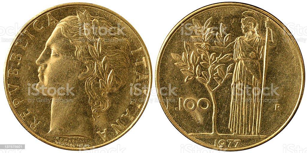 Coins Macro - 100 Italian Lire stock photo