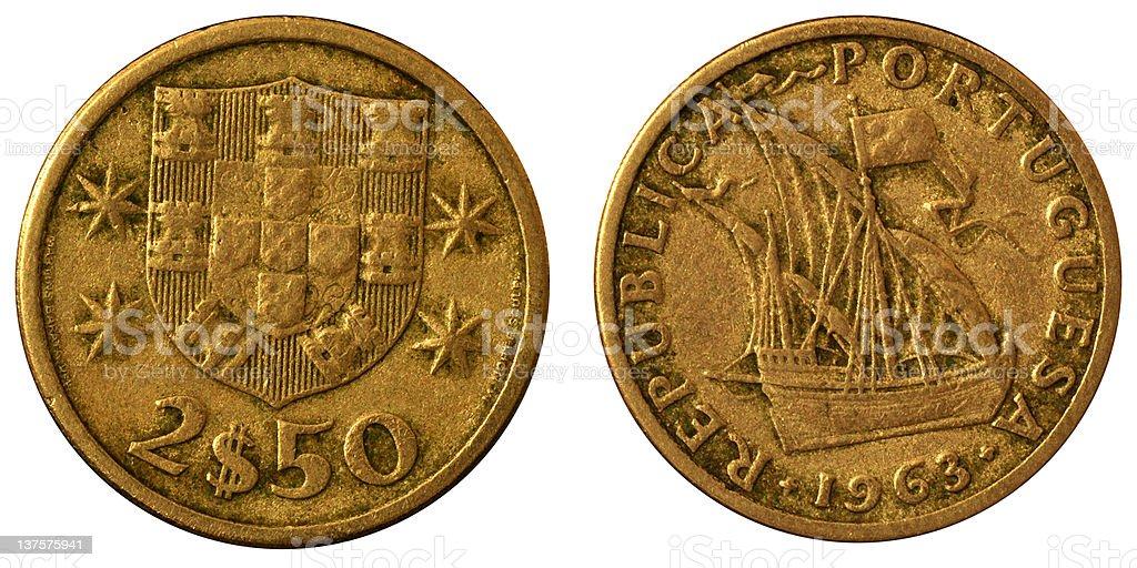 Coins Macro - 2.50 Portuguese Escudos stock photo
