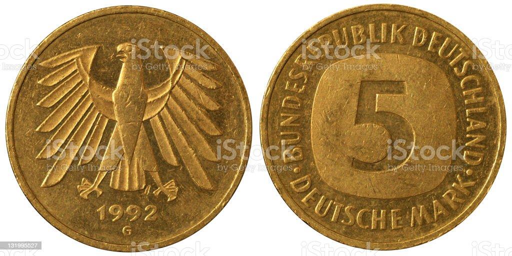 Coins Macro - 5 German Deutschemarks royalty-free stock photo