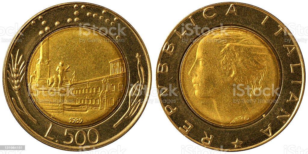 Coins Macro - 500 Italian Lire stock photo