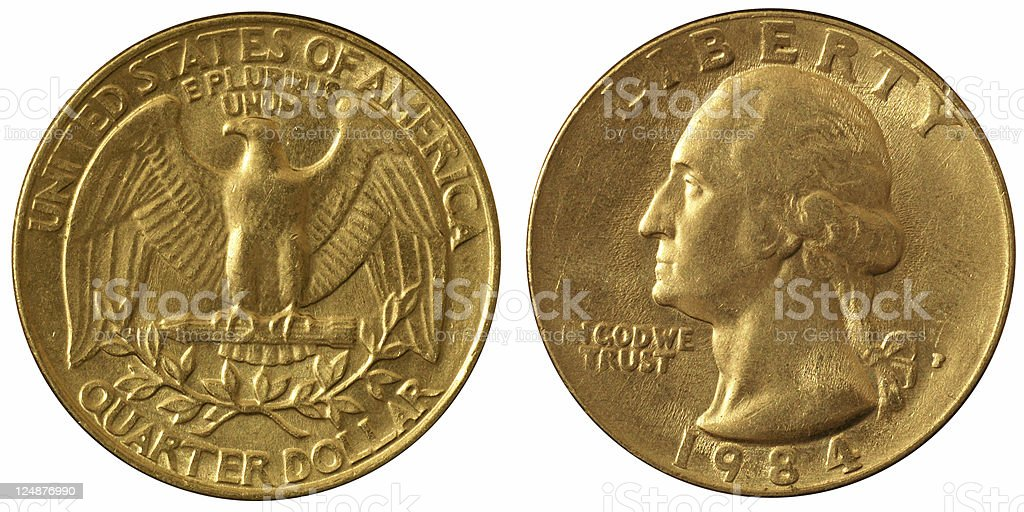 Coins Macro - Quarter Dollar royalty-free stock photo