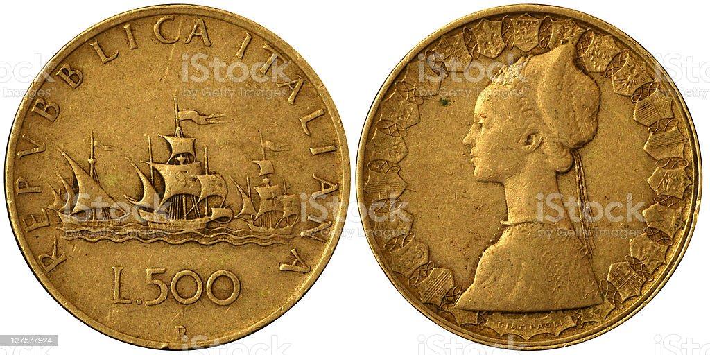 Coins Macro - Silver 500 Italian Lire stock photo